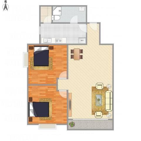 中南花园2室1厅1卫1厨114.00㎡户型图