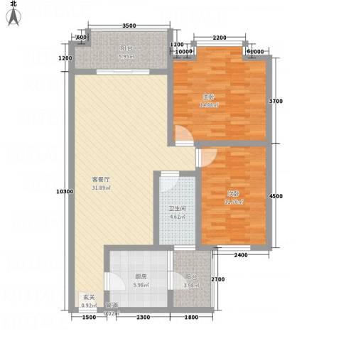 红格涪岸2室1厅1卫1厨79.07㎡户型图