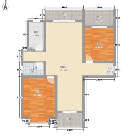 红格涪岸2室1厅1卫1厨81.87㎡户型图