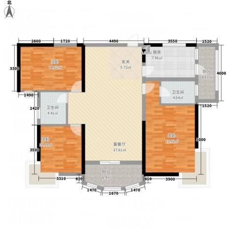 枫林水岸豪庭3室1厅2卫1厨145.00㎡户型图