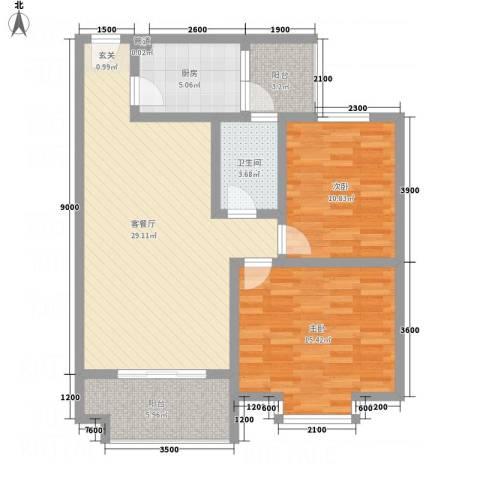 红格涪岸2室1厅1卫1厨73.28㎡户型图
