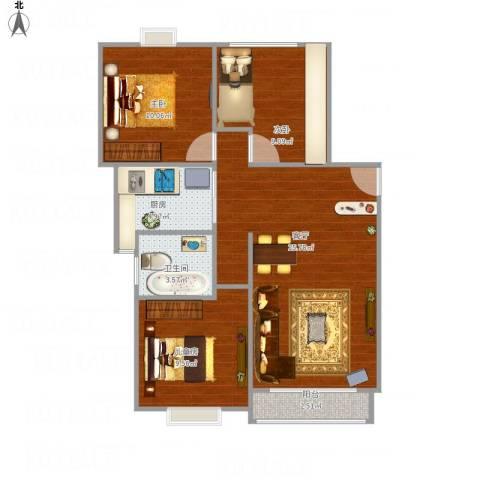 梧桐城邦二期3室1厅1卫1厨89.00㎡户型图