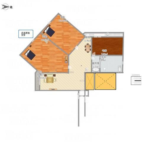 柠溪大厦3室2厅1卫1厨89.00㎡户型图