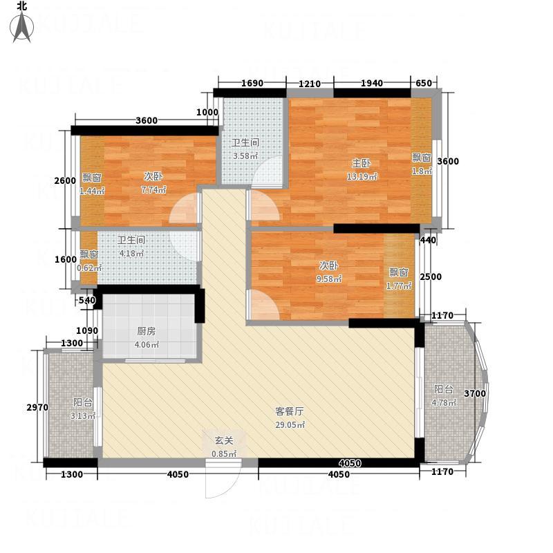 耀宝凯旋豪庭・锦公馆7.00㎡户型3室2厅2卫1厨