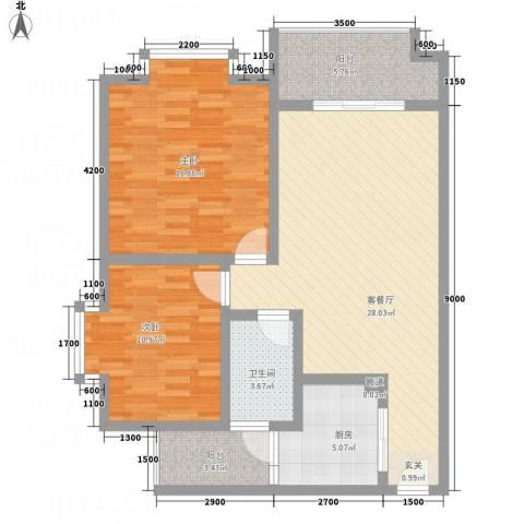 红格涪岸2室1厅1卫1厨86.00㎡户型图