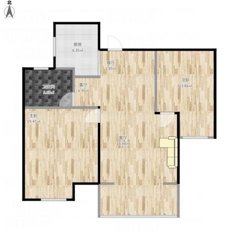 丝庐雅苑2室1厅1卫1厨110.00㎡户型图