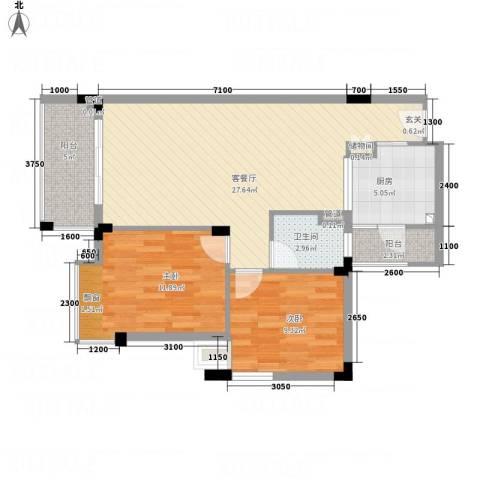 恒翠山庄2室1厅1卫1厨72.73㎡户型图