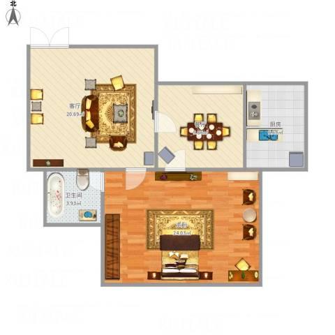 向东岛花园1室2厅1卫1厨87.00㎡户型图
