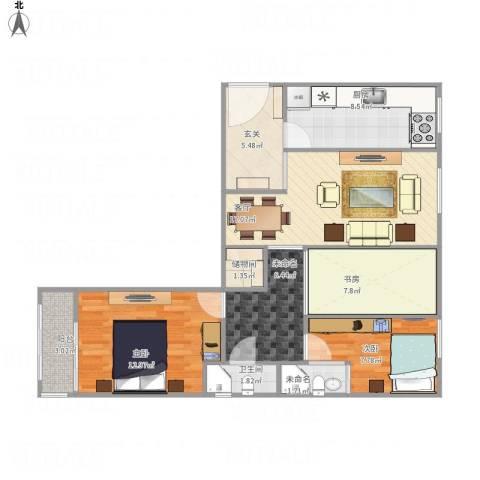 丽泽景园3室1厅1卫2厨90.00㎡户型图
