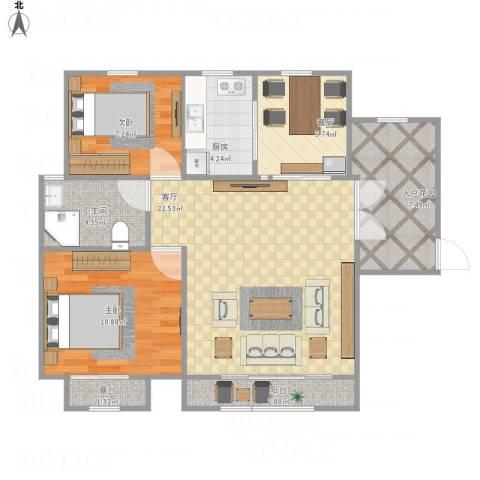 幸福密码2室2厅1卫1厨91.00㎡户型图