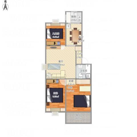 草场门大街123号3室2厅1卫1厨82.00㎡户型图