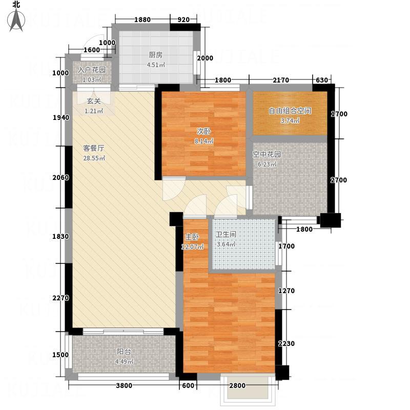 东方威尼斯4.77㎡6栋E3A+空中花园户型2室2厅1卫1厨