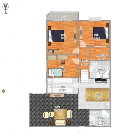 朝晖新城3室1厅2卫1厨159.00㎡户型图