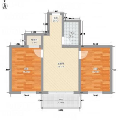 新涧河花园2室1厅1卫1厨67.00㎡户型图