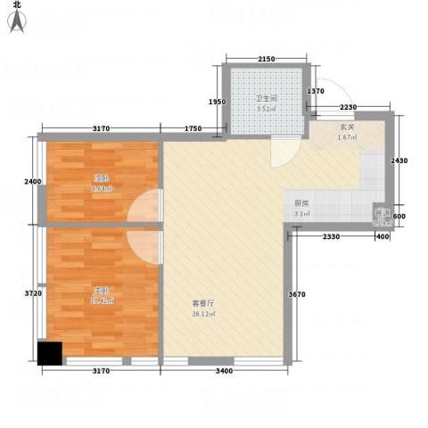 明珠汇2室1厅1卫0厨66.00㎡户型图