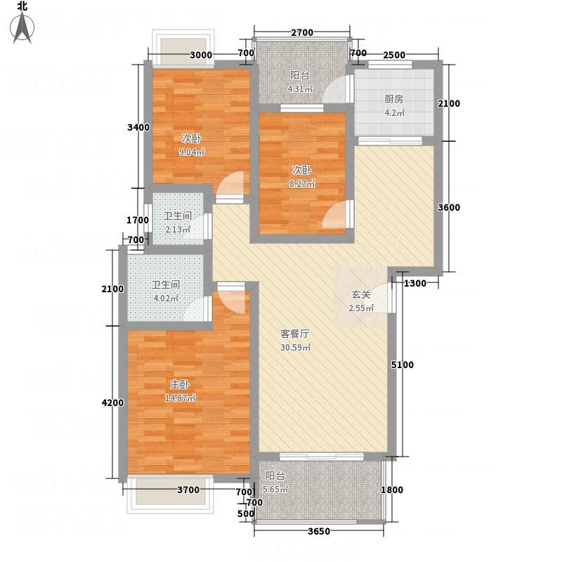 佳信阳光香缇1.10㎡C1标准层户型3室2厅2卫1厨