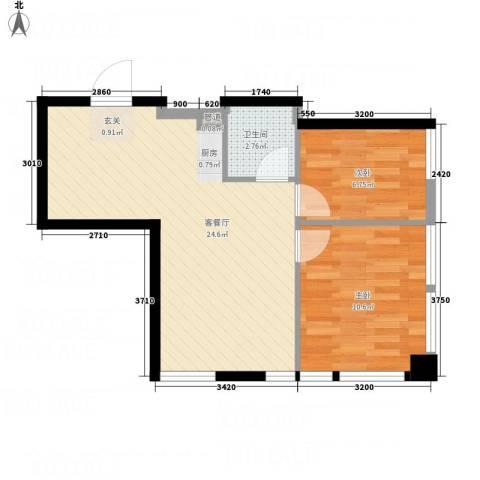 明珠汇2室1厅1卫0厨63.00㎡户型图