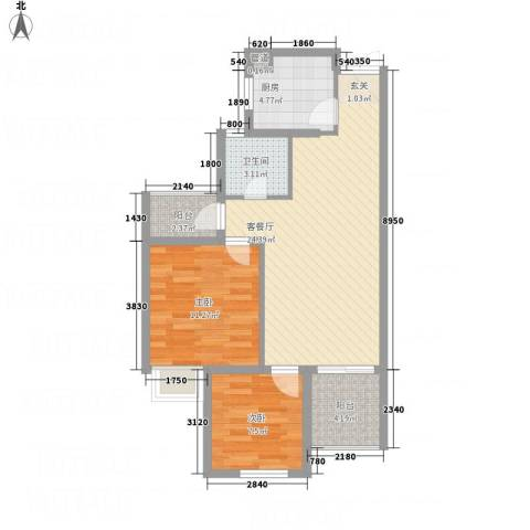 清江人家2室1厅1卫1厨83.00㎡户型图