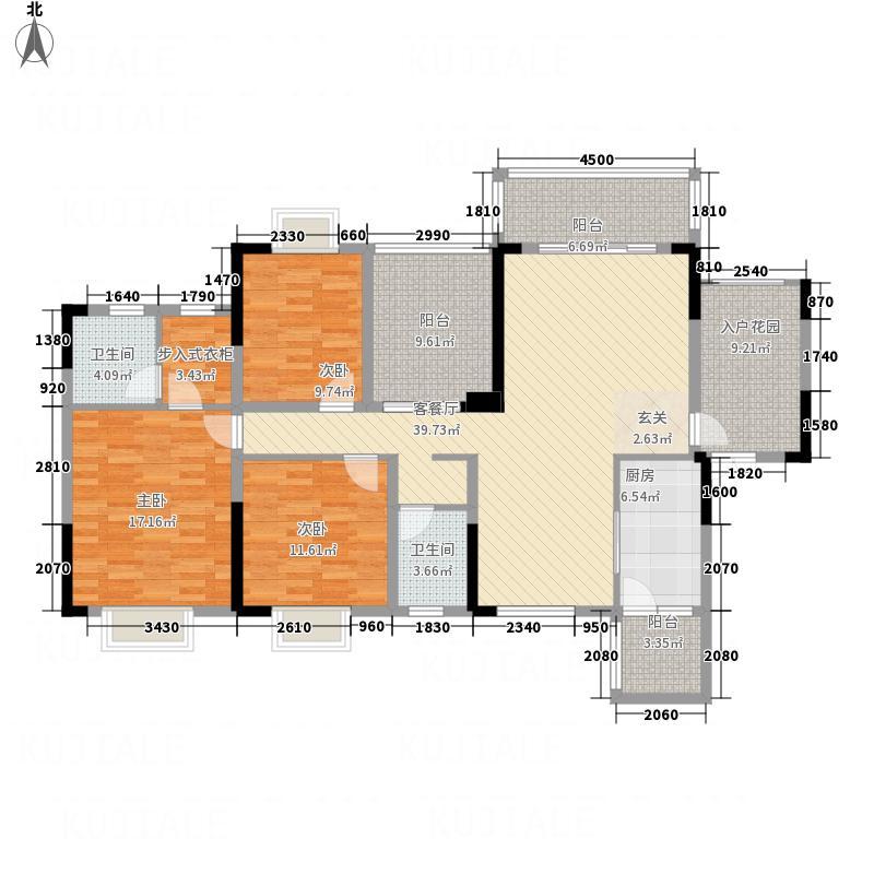 天水豪廷142.66㎡AB1户型3室2厅2卫