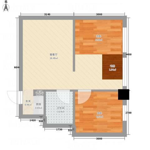 明珠汇1室1厅1卫0厨52.00㎡户型图