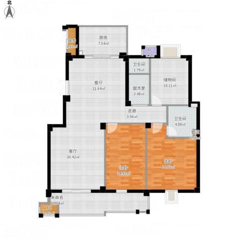 望湖公馆2室2厅2卫1厨166.00㎡户型图