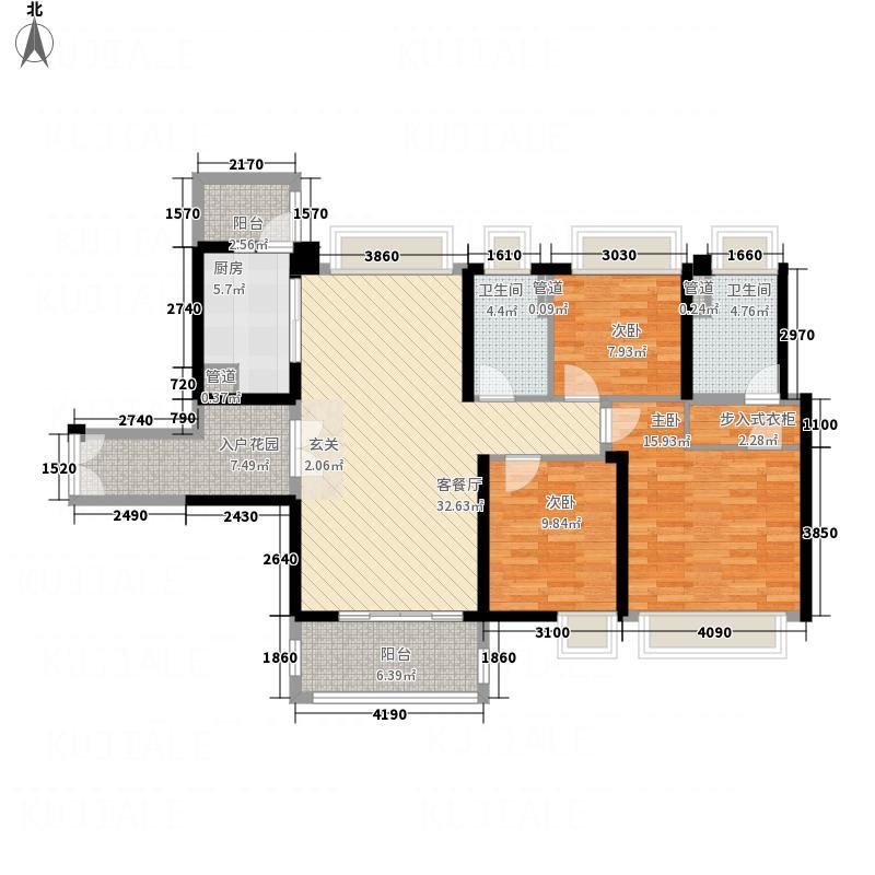 时代山湖海125.31㎡33-36栋203-3303E03户型3室2厅2卫1厨