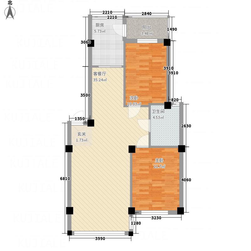 鑫域蓝湾8.86㎡户型2室2厅1卫