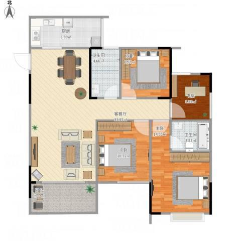 梁平上海城4室1厅2卫1厨127.00㎡户型图