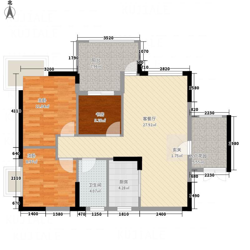 江南名居锦苑12座05型户型3室2厅1卫1厨