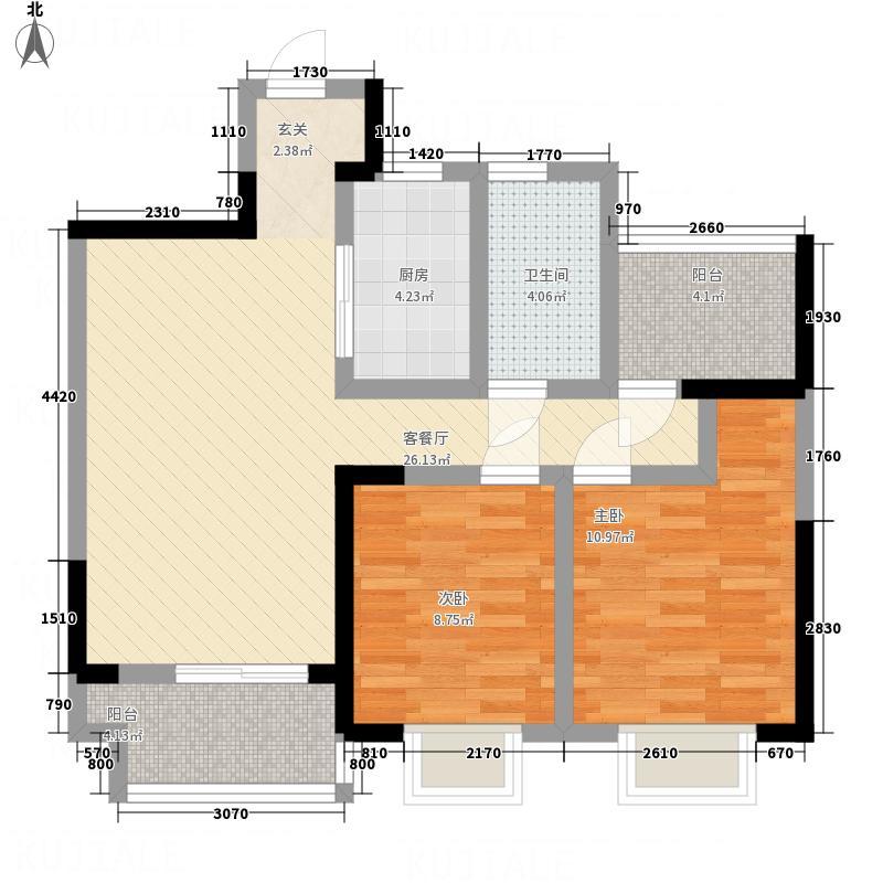 金冠紫园2.80㎡B户型2室1厅1卫1厨