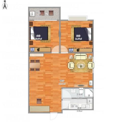 古田帝园83平设计图纸2室1厅1卫1厨88.00㎡户型图
