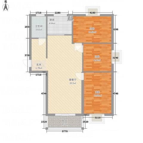 万锦海岸3室1厅1卫1厨115.00㎡户型图