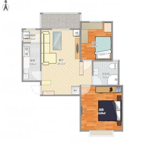 金色花语城2室1厅1卫1厨76.00㎡户型图