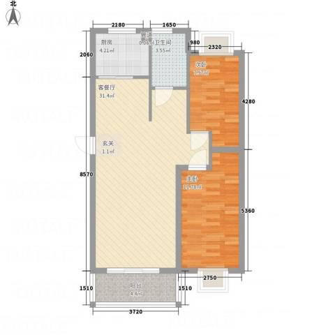 万锦海岸2室1厅1卫1厨63.37㎡户型图