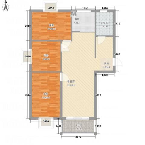 万锦海岸3室1厅1卫1厨124.00㎡户型图