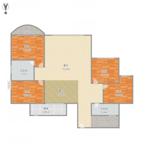 世邦一水岸1单元21014室1厅2卫1厨194.00㎡户型图