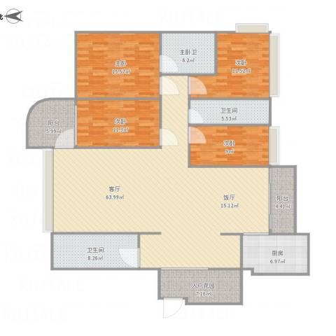 世邦一水岸-3单元26014室1厅2卫1厨209.00㎡户型图