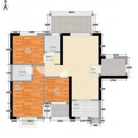 惠民怡家3室1厅2卫1厨111.00㎡户型图