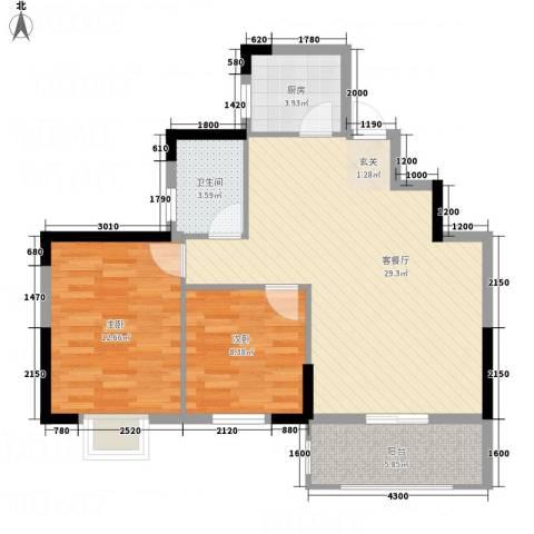 大地・潜龙山居2室1厅1卫1厨82.00㎡户型图
