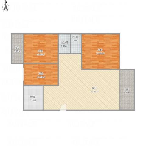 皓晖花园3室1厅2卫1厨135.44㎡户型图