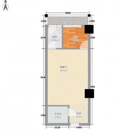 万信摩登会馆1室1厅1卫1厨55.00㎡户型图
