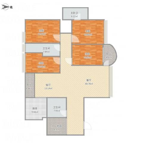 世邦一水岸-2单元8034室1厅2卫1厨236.00㎡户型图