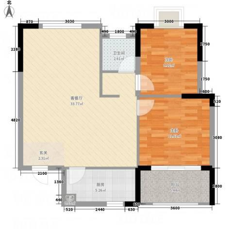 大地・潜龙山居2室1厅1卫1厨95.00㎡户型图