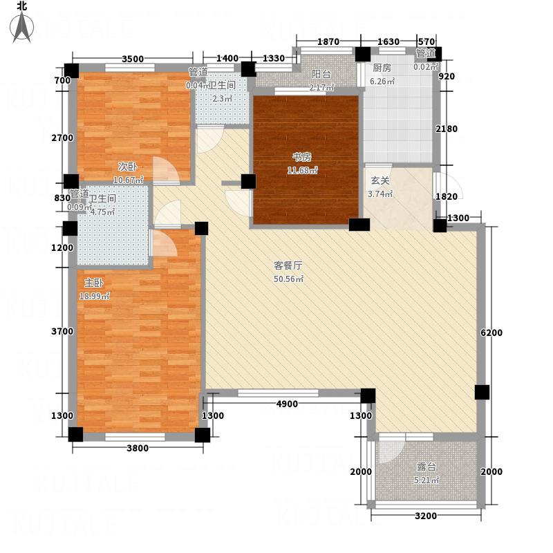 典逸心洲132.00㎡K2层户型4室1厅2卫