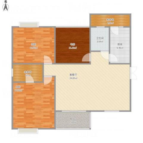 旌城一品3室1厅1卫1厨136.00㎡户型图
