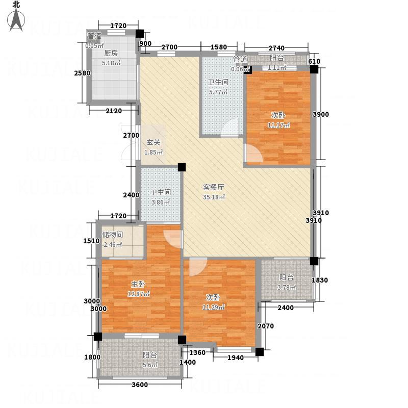 凤凰131.47㎡小区1号楼B户型3室2厅2卫1厨