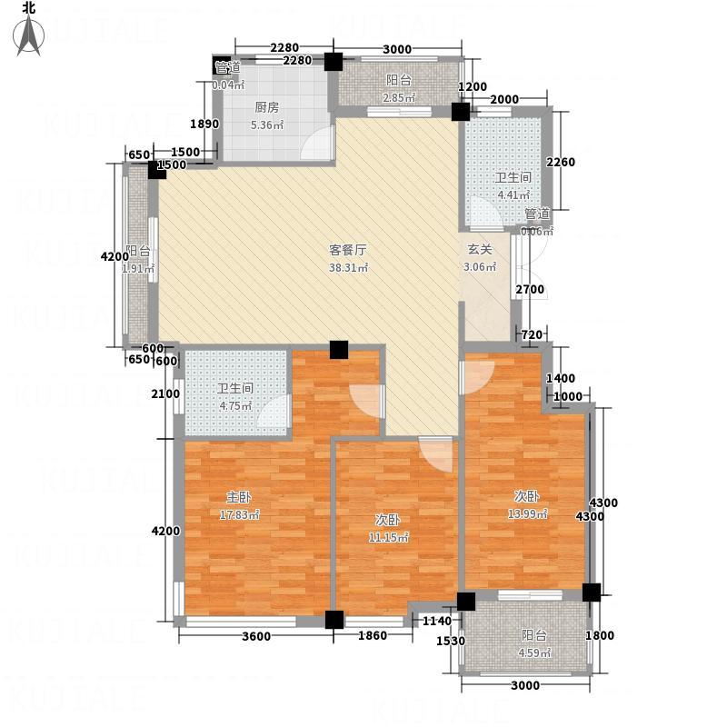 凤凰13.00㎡小区3号楼E户型3室2厅2卫1厨