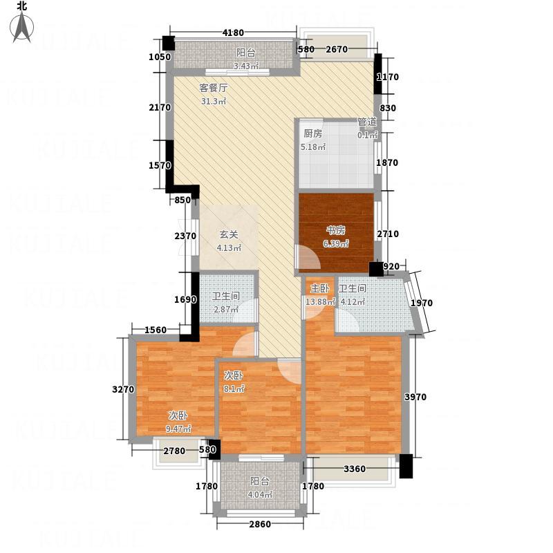 天和国际公馆128.35㎡户型4室2厅2卫1厨