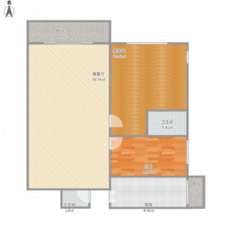 幸福第二城1室1厅2卫1厨131.00㎡户型图