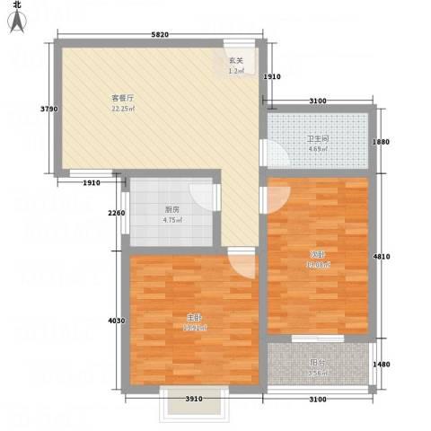 富通・香树湾2室1厅1卫1厨62.23㎡户型图